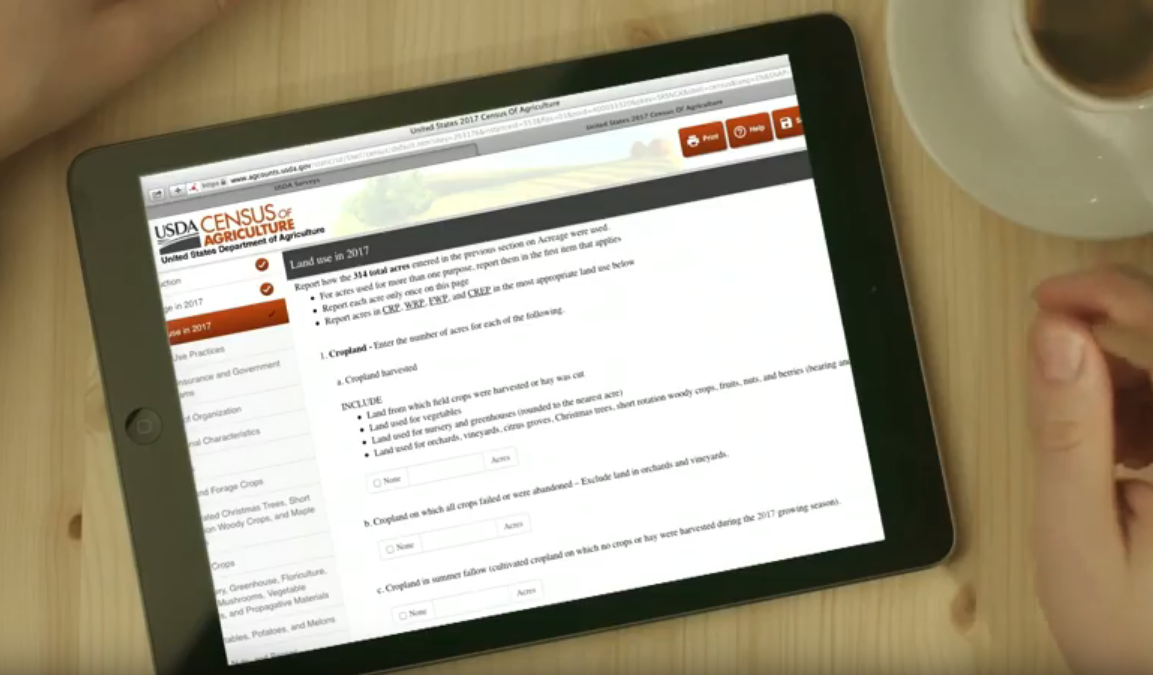 Video describing how to respond online to the Census of Agriculture.