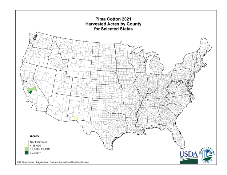 Pima Cotton: Harvested Acreage by County