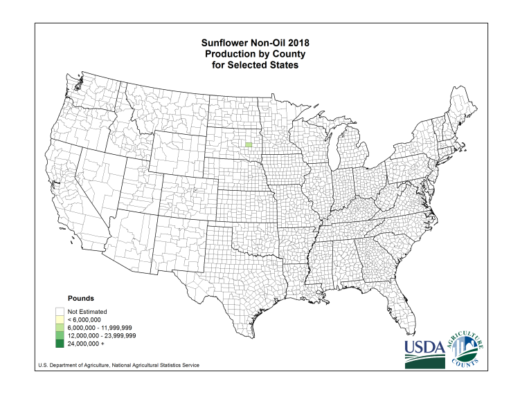 Sunflowers: Yield per Harvested Acre by County
