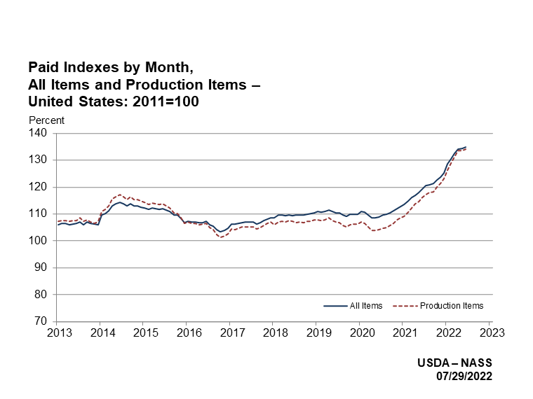 Prices Paid: Indexes for All Items and Production Items by Month, US