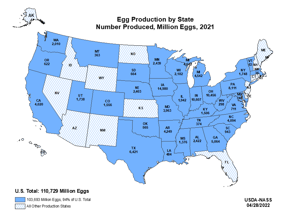 layers and eggs production by state us