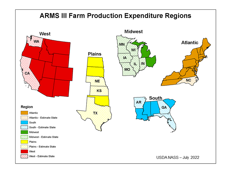 ARMS III Farm Production Regions Map