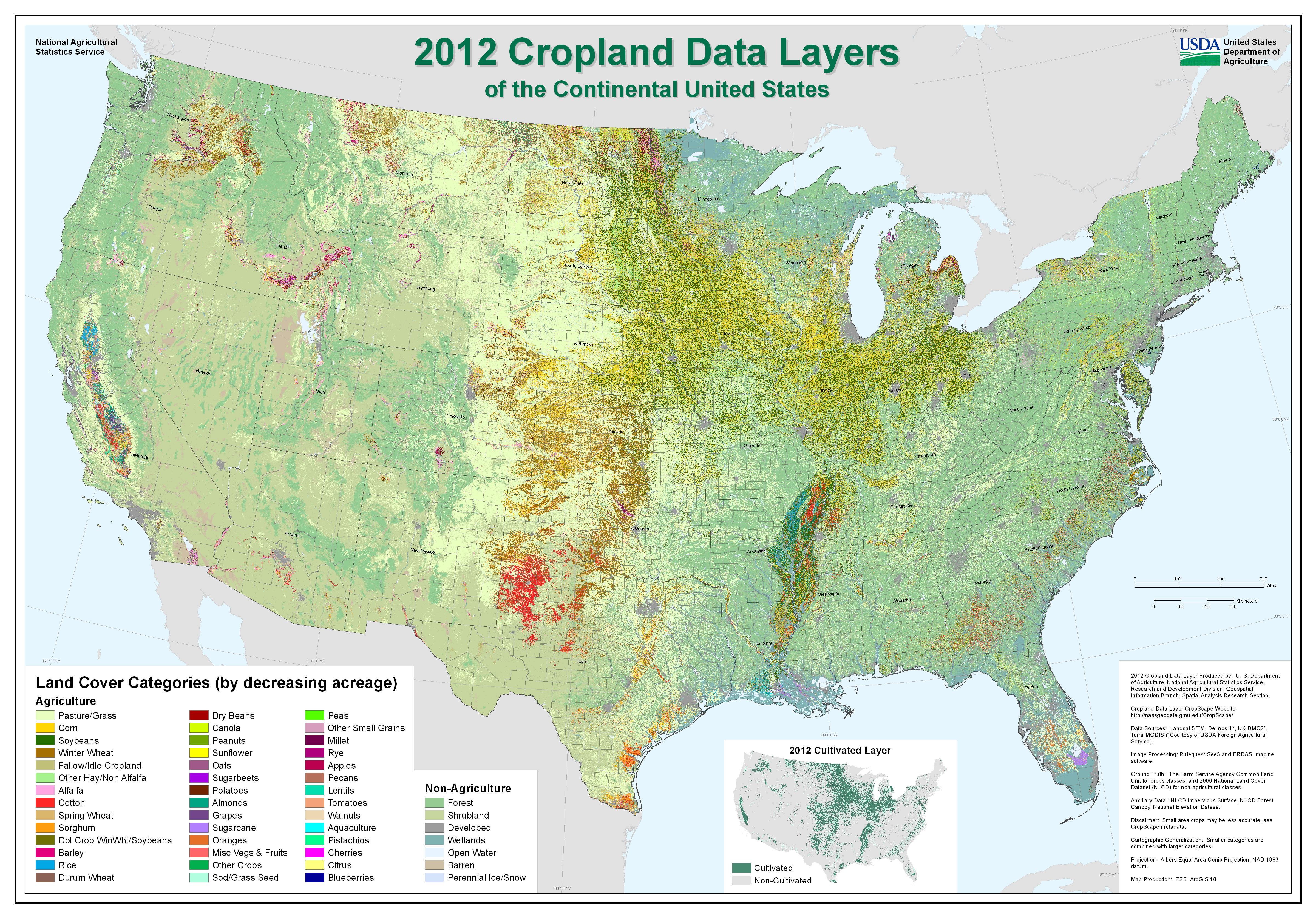 USDA National Agricultural Statistics Service Presentations - Agriculture in the us map