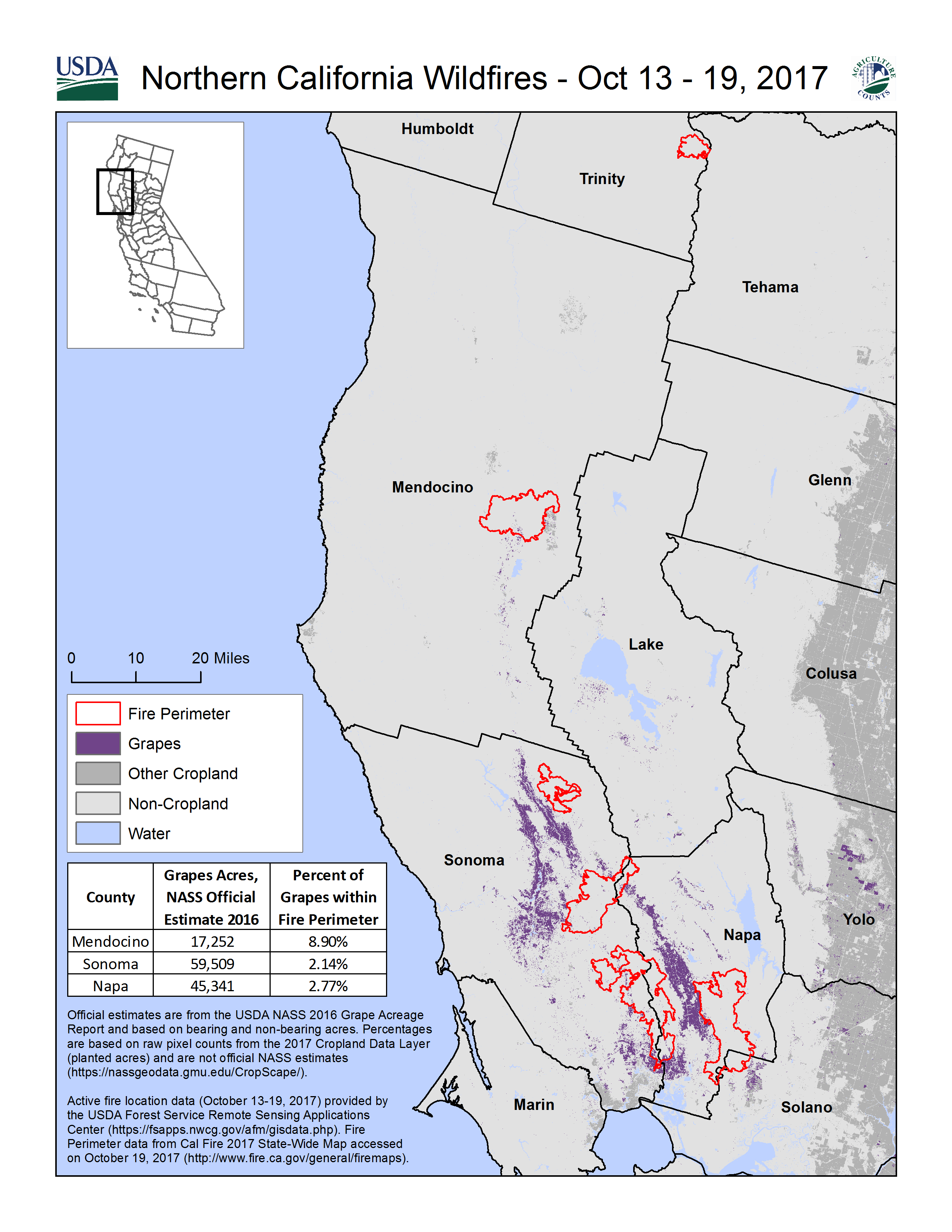 Map of Northern California Wildfires – Wine Country