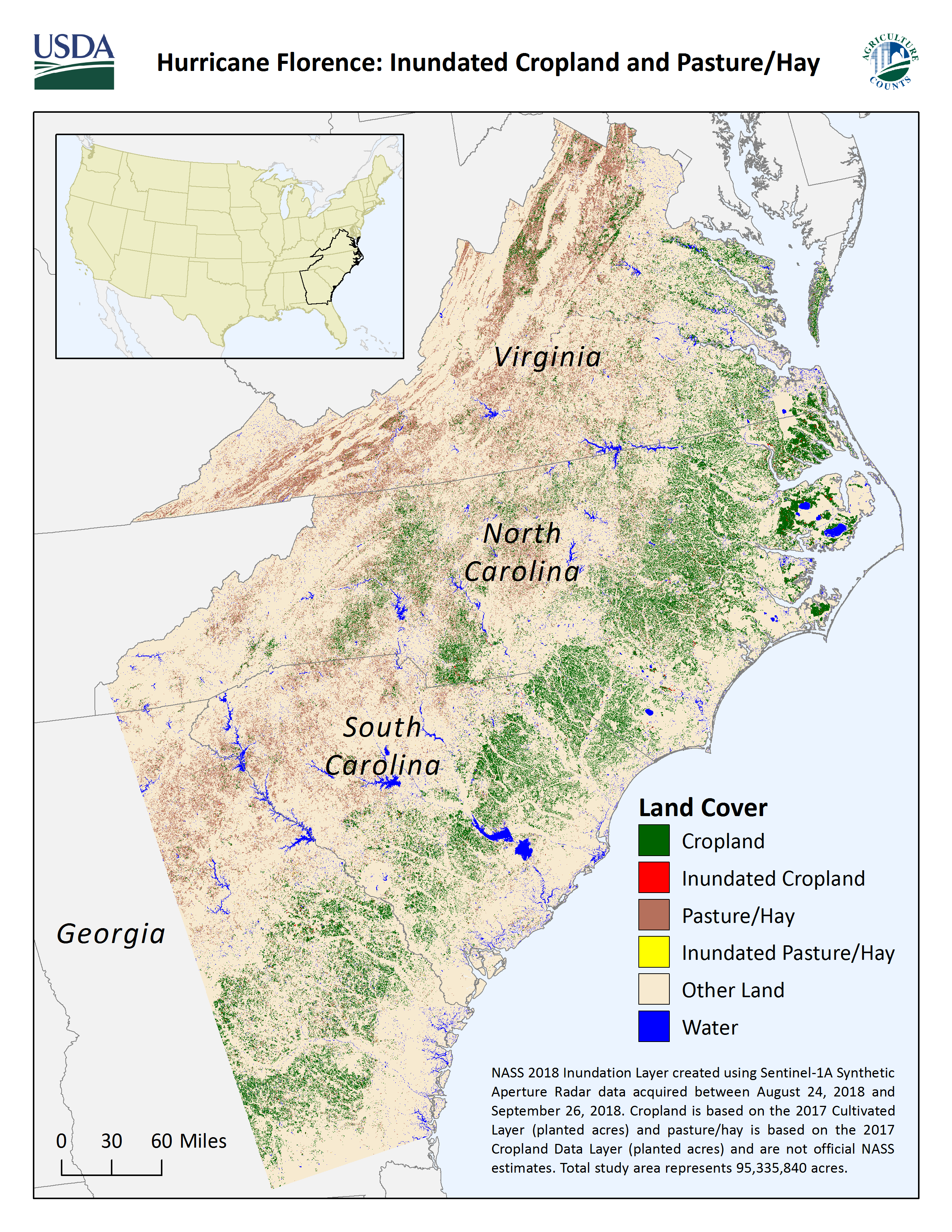 Map of Inundated Cropland and Pasture/Hay from Hurrican Florence