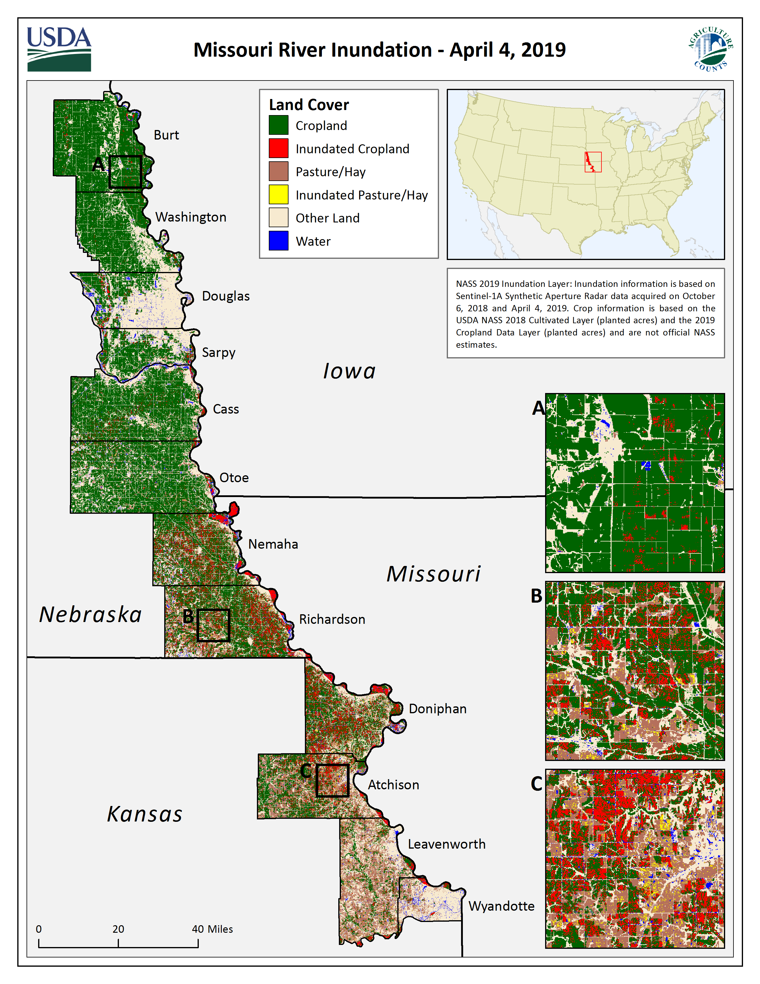Map of Missouri River Inundation (April 4, 2019)