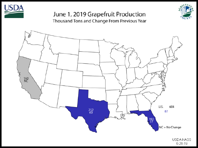 Hogs: Grapefruit Production Map by State, US