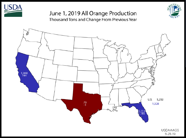 Oranges: Orange Production Map by State, US